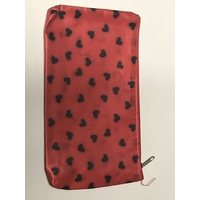 Budget cosmetic bag - red with black hearts